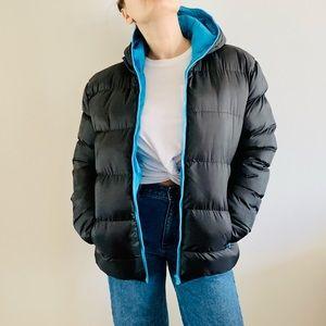 NWT Black Blue Basic Warm Puffer Jacket Sport Coat Zip Up Hood